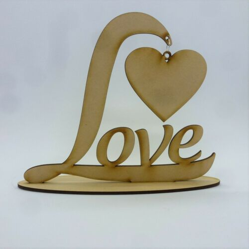 Word plaque LOVE HEART Personalised free Standing wedding Valentines MDF L19Z4