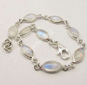 "925 Sterling Silver MARQUISE RAINBOW MOONSTONE LOVELY Bracelet 7.9/"" 6.1 Grams"