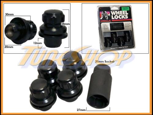 4 LOCK GORILLA FOR TOYOTA STOCK FACTORY OEM WHEELS RIMS MAG LUG NUT 12X1.5 BLACK