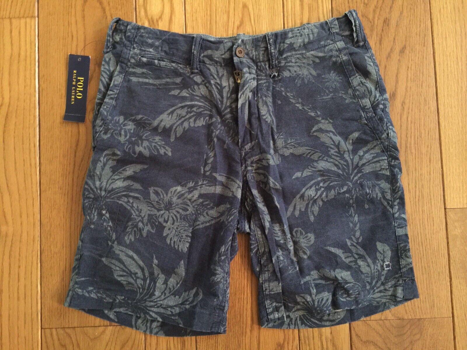 Polo Ralph Lauren Straight Fit STUDIO Navy Hawaii Print Cotton Shorts 28 NWT