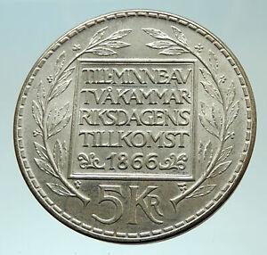 1966-SWEDEN-King-GUSTAV-VI-ADOLF-5-Kronor-LARGE-Silver-SWEDISH-Coin-i75880