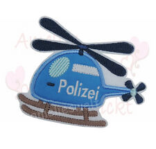 Polizei Hubschrauber Aufbügler Aufnäher Bügelbild Patch Sticker BW Stoff