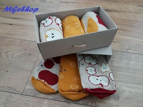 Funny Socks Gift Box Mens 3 Pack Pairs Cotton Style Ankle Size 39-42 43-46
