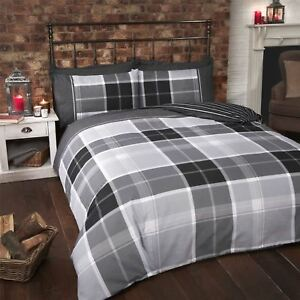 TARTAN-CHECK-STRIPE-BLACK-GREY-WHITE-COTTON-BLEND-SINGLE-DUVET-COVER