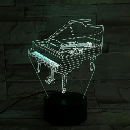3D piano acrylic 7 color led touch desk optical night light lamp bedroom gift