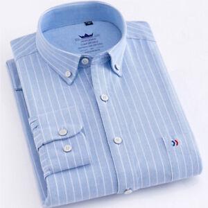 Striped-Quality-New-Mens-Luxury-Casual-Stylish-Dress-Long-Sleeves-Shirts-ZC6439