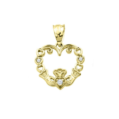 0.02 CTW Diamond Claddagh Open Heart Pendant Necklace in 10k Yellow Gold