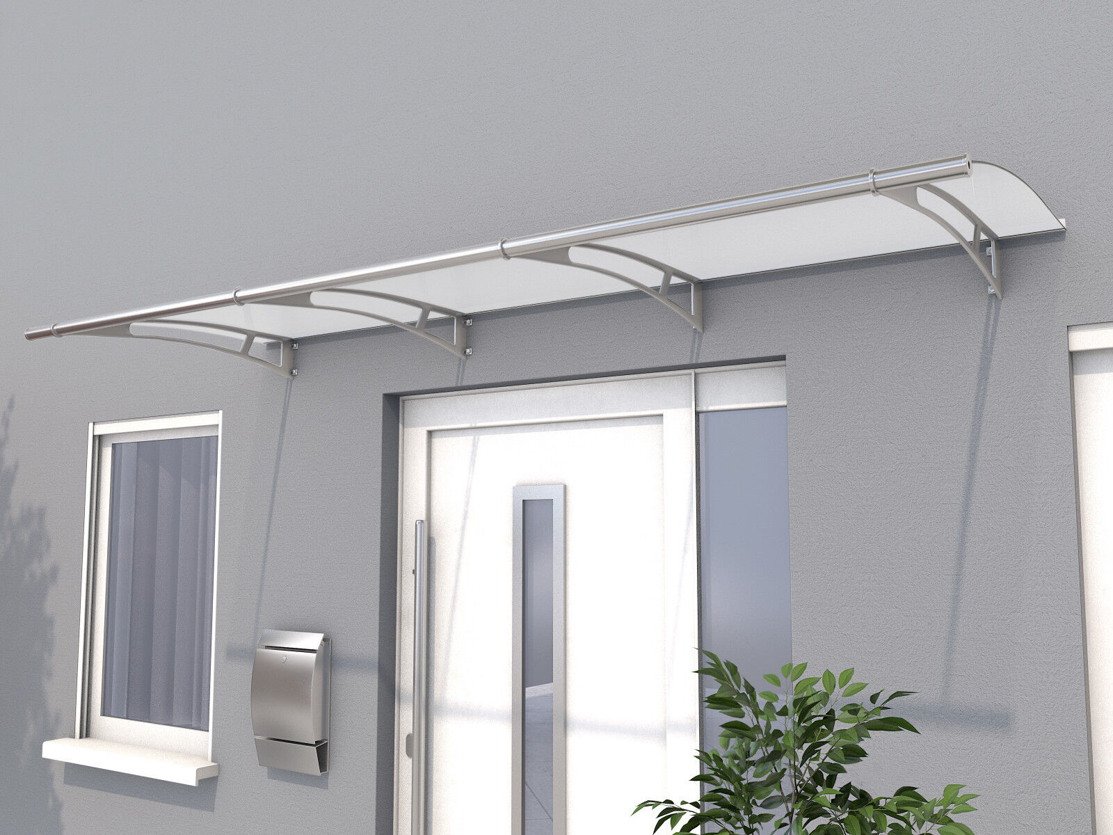 Gutta Pultvordach PT/L 270 satiniert weiß - Haustürvordach 270 x 95 cm Acrylglas