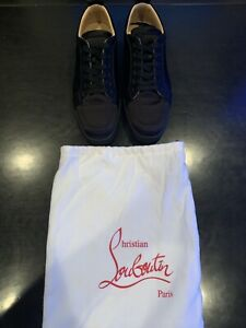promo code 4318c 581cd Details about Christian Louboutin Mens Rantulow Orlato Flat Satingg Black  Size 44 Worn Once