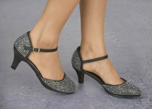LADIES SPARKLY GLITTER DIAMANTE DETAIL LOW HEEL ANKLE STRAP EVENING SHOES 3-8