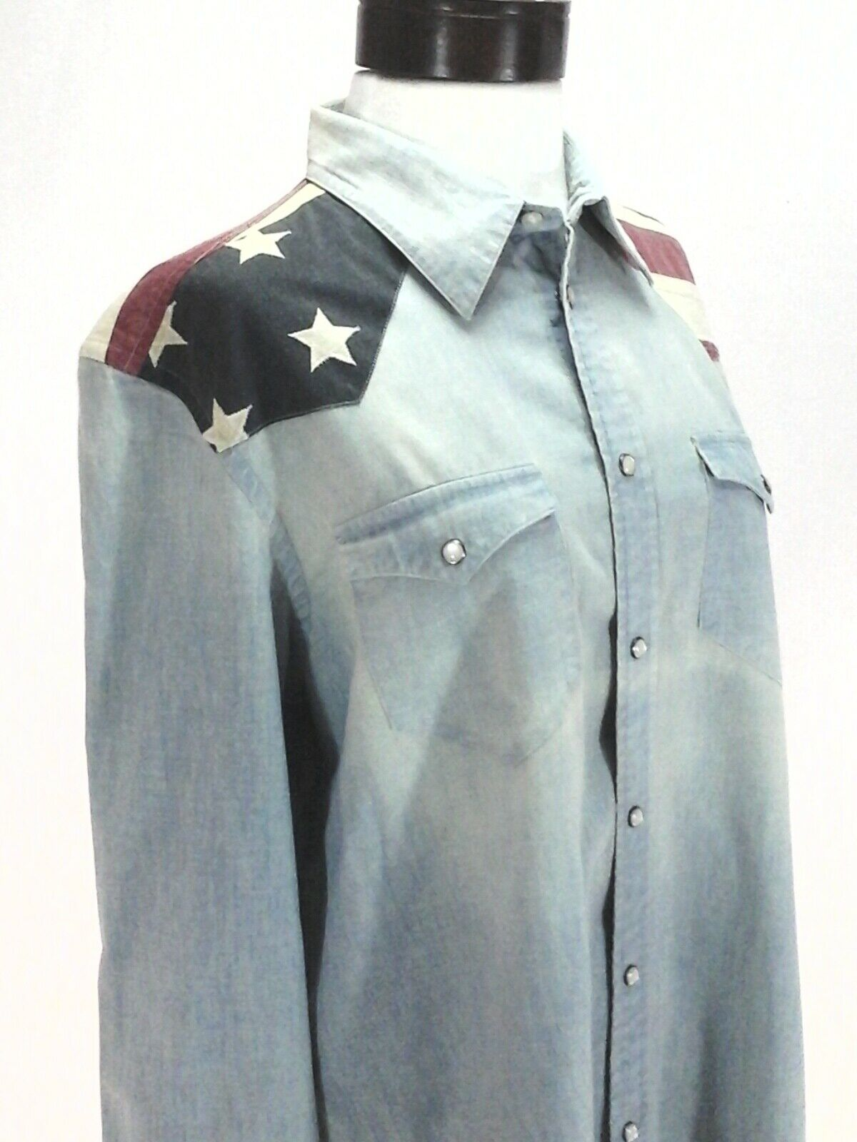 Polo RALPH LAUREN Western Blau Denim Shirt USA Flag Pearlized Snaps damen New