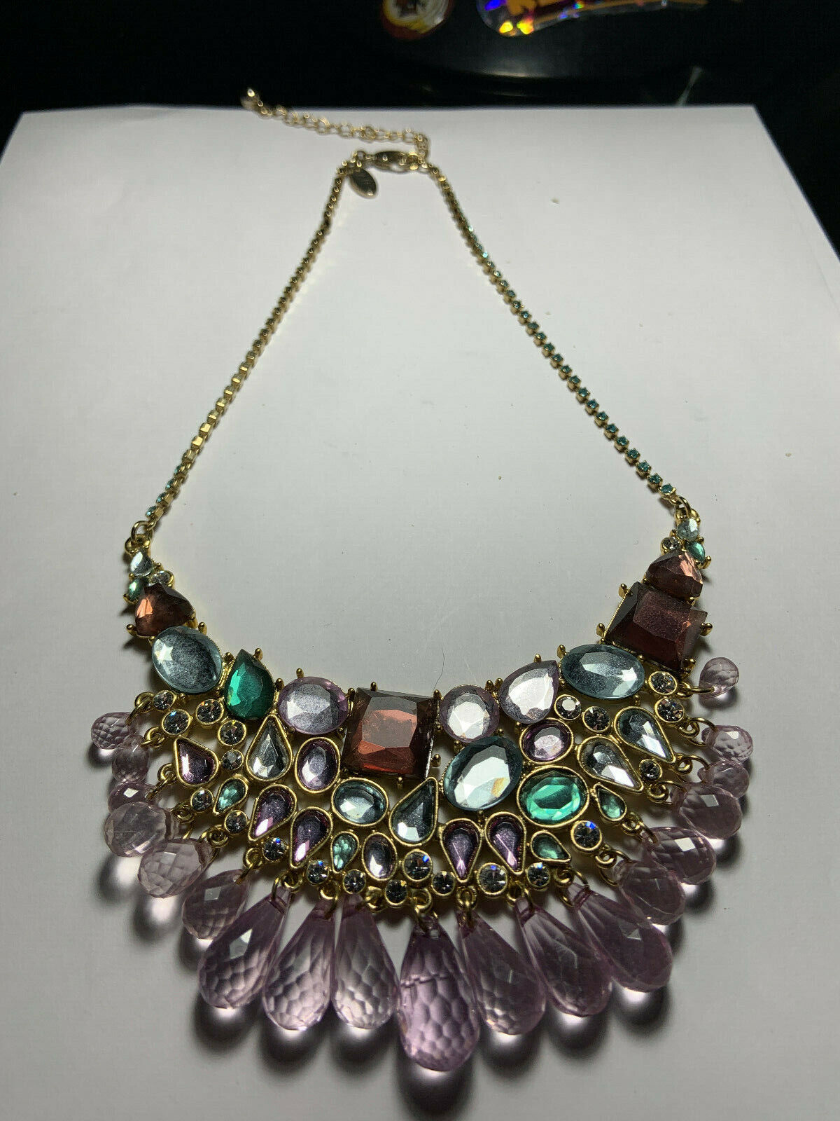 Vintage Arnold Scaasi gold tone multicolored hang… - image 9