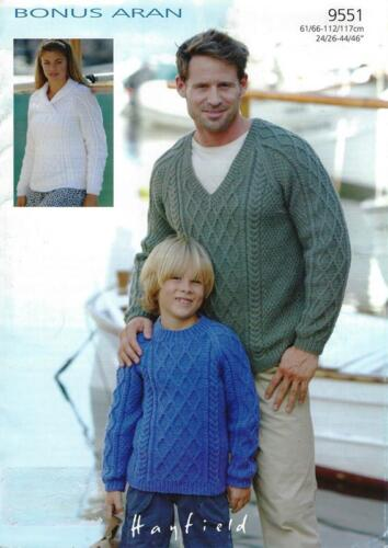 Ha9551 Ladies Mens Childs Aran Cabled Sweaters Knitting Pattern