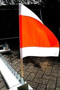2 x warnfahnen flagge warnfahne winterdienst fahne rot wei 50x50cm mit stiel ebay. Black Bedroom Furniture Sets. Home Design Ideas