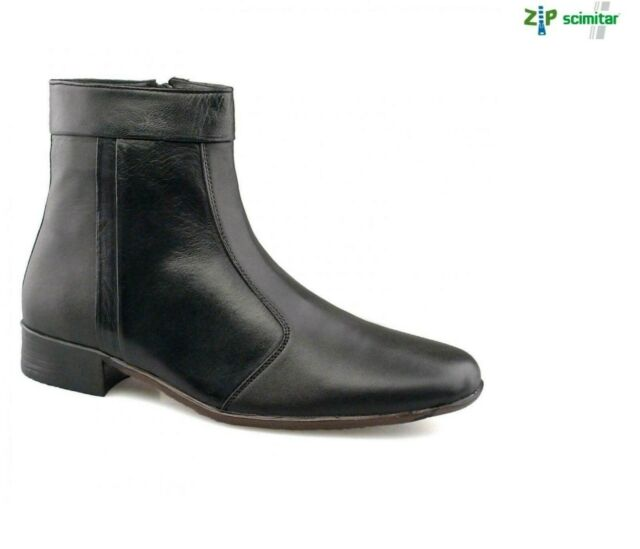 Men`s Leather Black Ankle Zip Boot