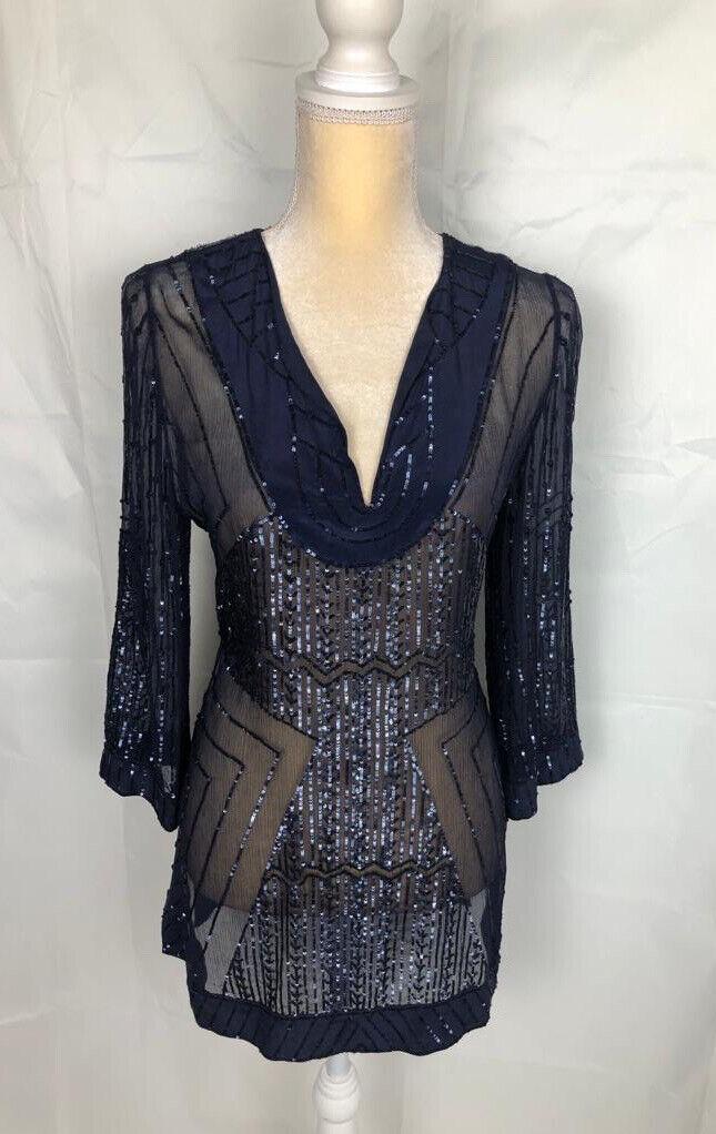 RARE Calypso St Barth silk see through blouse navy blue Maurita Top sequins Sz M