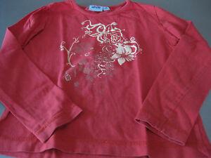 Shirt-T-Shirt-Gr-128-Langarm-alive-Rot-mit-Blumenornamenten