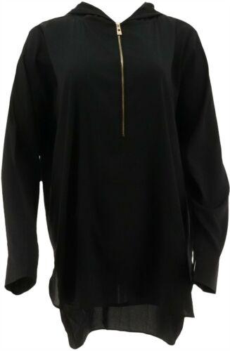 Belle Kim Gravel Woven Half Zip Tunic Hood Black M NEW A283919