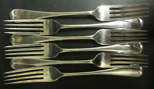 VINTAGE-SET-OF-6-SILVER-PLATED-OLD-ENGLISH-PATTERNED-DESSERT-FORKS-EP-A1