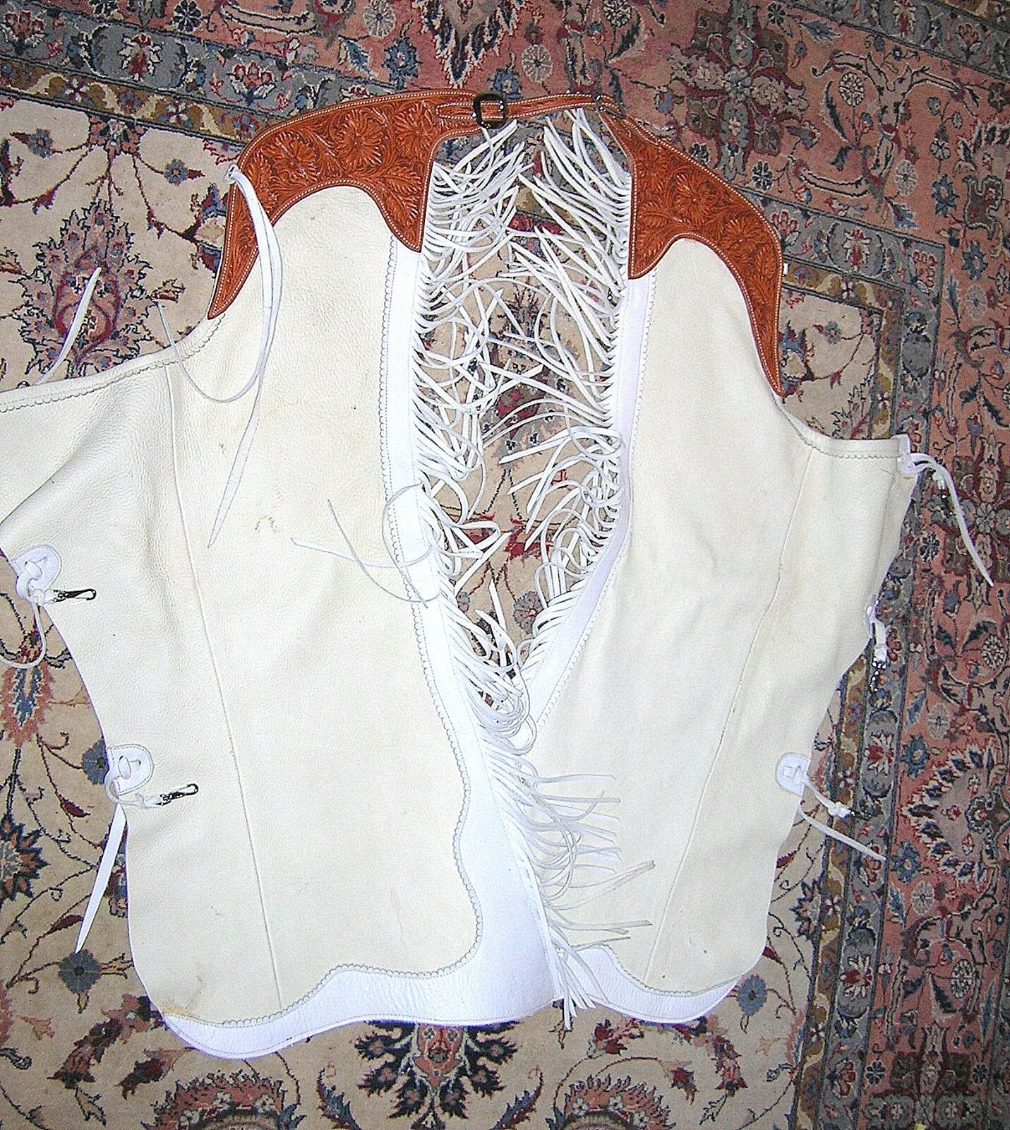 ANDY HAMILTON VINTAGE RARE HAND TOOLED WESTERN CHAPS ANTELOPE SKIN  - EXCELLENT    online sale