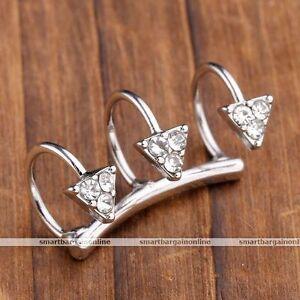 1x-Silvery-Crystal-Geometry-Triangle-Ear-Cuff-Wrap-Earrings-Jewelry-Non-Piercing