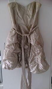 Forever-New-Gold-Strapless-dress-Size-12-FREE-POST-IN-AUSTRALIA