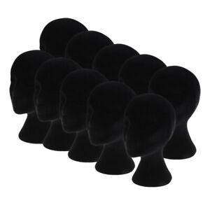 10pcs Black Styrofoam Mannequin Manikin Head Models Wigs Glasses Display Stands