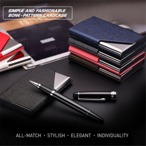 Men/&Women Leather/&Stainless Steel Business Name Card Case Holder Purse Wallet HS