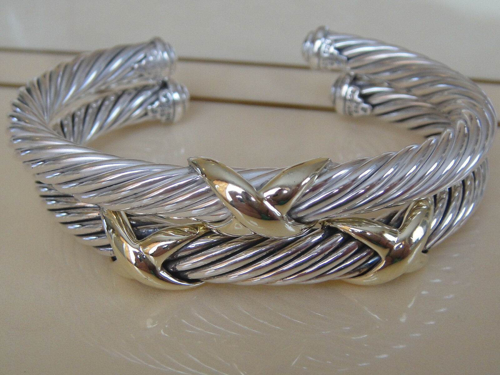 775 DAVID YURMAN 14K gold, SS SINGLE STATION X BRACELET 7mm SMALL