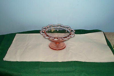 """OLD COLONY LACE EDGE PINK DEPRESSION GLASS COMPORT 7"""" FOOTED CANDY DISH"""
