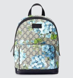 9474c5d0b127 Gucci Unisex Beige Blue GG Coated Canvas Bloom Small Backpack w box ...