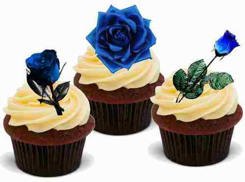 BLUE ROSE MIX 12 Edible Stand Up Premium Wafer Cake Toppers