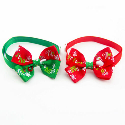 Christmas Pet Dog Cat Bow Tie Adjustable Necktie Dog Puppy Necklace Collar Decor