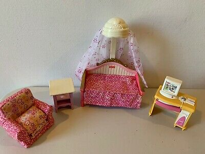 Loving Family Dollhouse CANOPY DAY BED NIGHTSTAND CHAIR  BEDROOM FURNITURE LOT