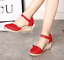 thumbnail 12 - Roman-Womens-Wedge-Mid-Heels-Strappy-Linen-Sandals-Pointy-Toe-Casual-Retro-Shoes