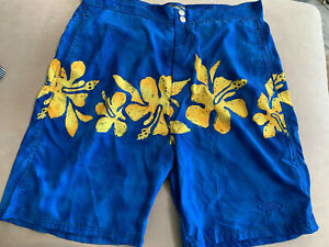 Hobie-Mens-Hawaiian-Style-Hibiscus-Board-Swim-Surf-Shorts-Trunks-L-Lining-Out
