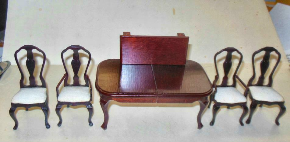 DELUXE DINING ROOM SET DARK MAHOGANY VINTAGE  510 DOLLHOUSE FURNITURE MINIATURES