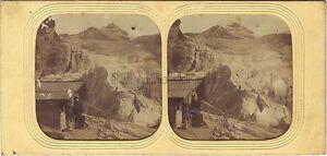 Suisse Ghiacciaio Montagne Diorama Tessuto Foto Stereo Vintage Albumina Ca 1860
