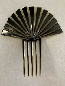 Beautiful Antique Victorian Edwardian Black And Clear Celluloid Fan Hair Comb