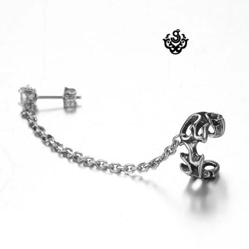 Silver ear cuff stainless steel clear crystal stud filigree chain single earring