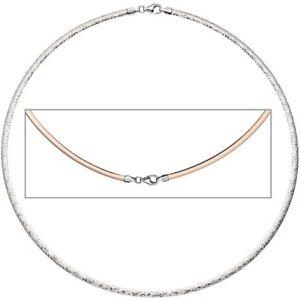 3mm-Wende-Omegareif-Halsreif-Collier-aus-925-Silber-mit-Muster-rotvergoldet-42cm