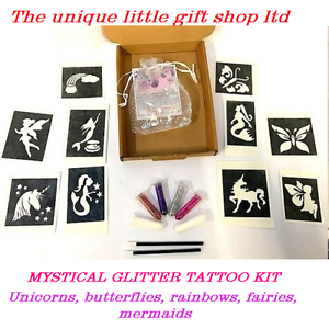 GLITTER-TATTOO-KIT-MYSTICAL-unicorns-10-stencils-OR-REFILL-STENCILS-GLITTER-GLUE