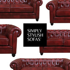 RUTLAND Antique Oxblood Red Leather Chesterfield Sofa 3 + 2 Seaters + Armchair