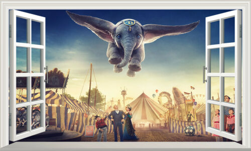 DUMBO Elephant 3D Magic Window Wall Art Self Adhesive Sticker Wall Paper V4*