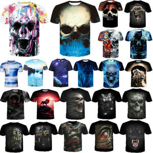 Fashion-Men-Funny-Skull-3D-Print-T-Shirt-Casual-Crew-Neck-Short-Sleeve-Tops-Tee