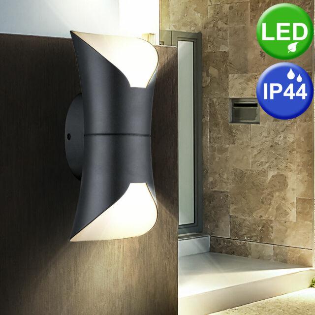 LED Außen Wand Spot Lampe anthrazit ALU UP DOWN Leuchte Garten Beleuchtung Hof