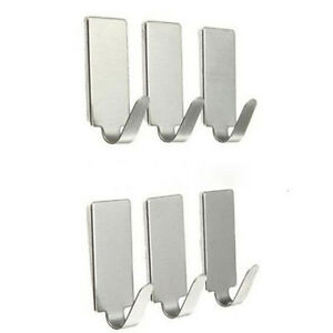 6x-Adhesive-Kitchen-Wall-Door-Stainless-Steel-Stick-Holder-Hooks-Hanger-P0CA