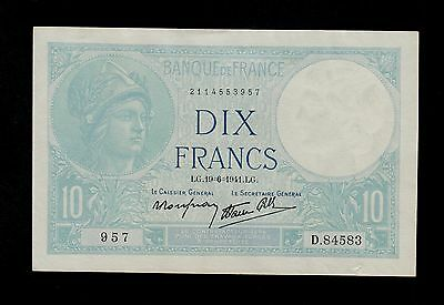 """France 10 Francs Banknote,2.1.1941 Nice Extra Fine Condition,Pick#84/""""Minerva/"""""""