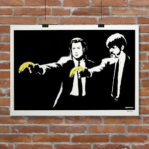BANKSY STYLE PULP FICTION CANVAS STREET ART PRINT ARTWORK