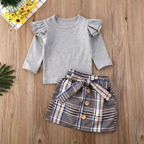 Baby Girls Matching Clothes Little//Big Sister Tops Romper Pants Dress Outfits UK